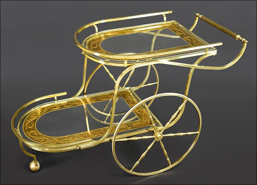 A Brass and Etched Glass Bar Cart.