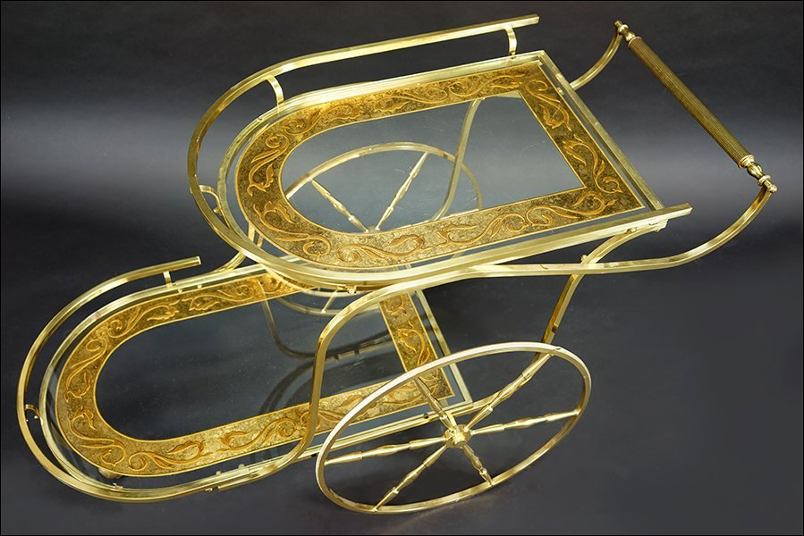 A Brass and Etched Glass Bar Cart. - 2
