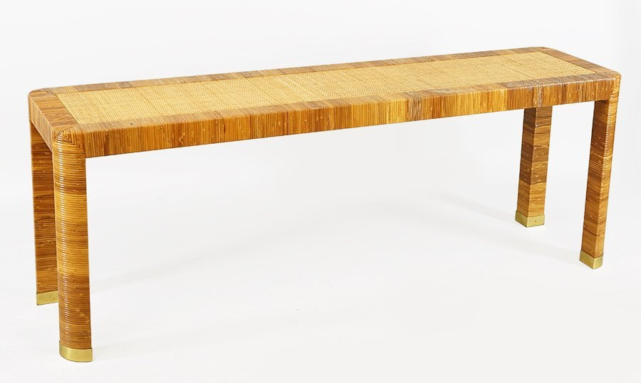 A Bielecky Brothers Rattan Console Table.