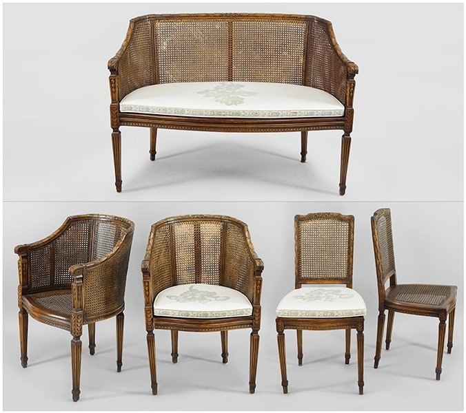 A Five-Piece Walnut and Rattan Parlour Suite.