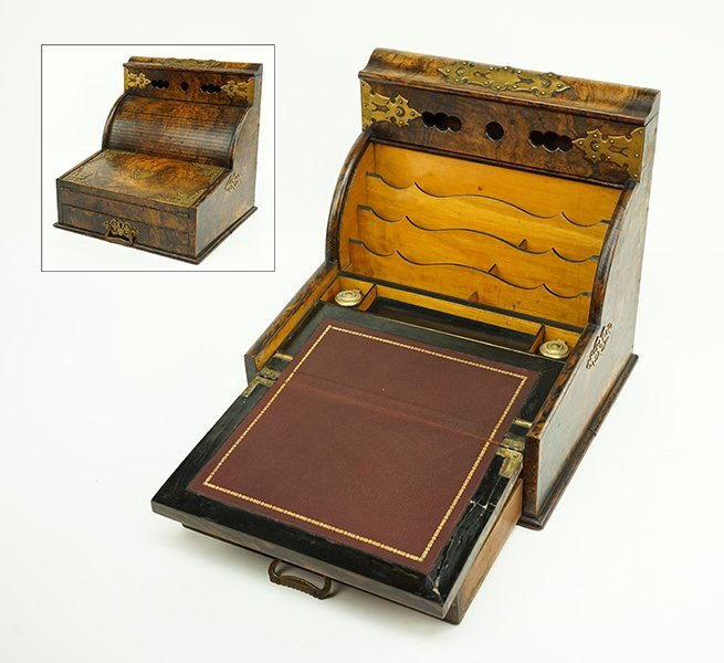 An American Burlwood Traveling Desk.