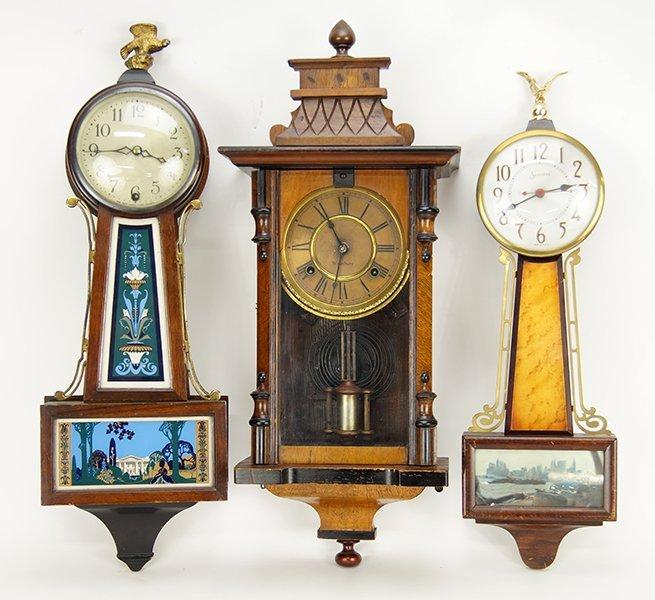 A Waterbury Walnut Wall Clock.