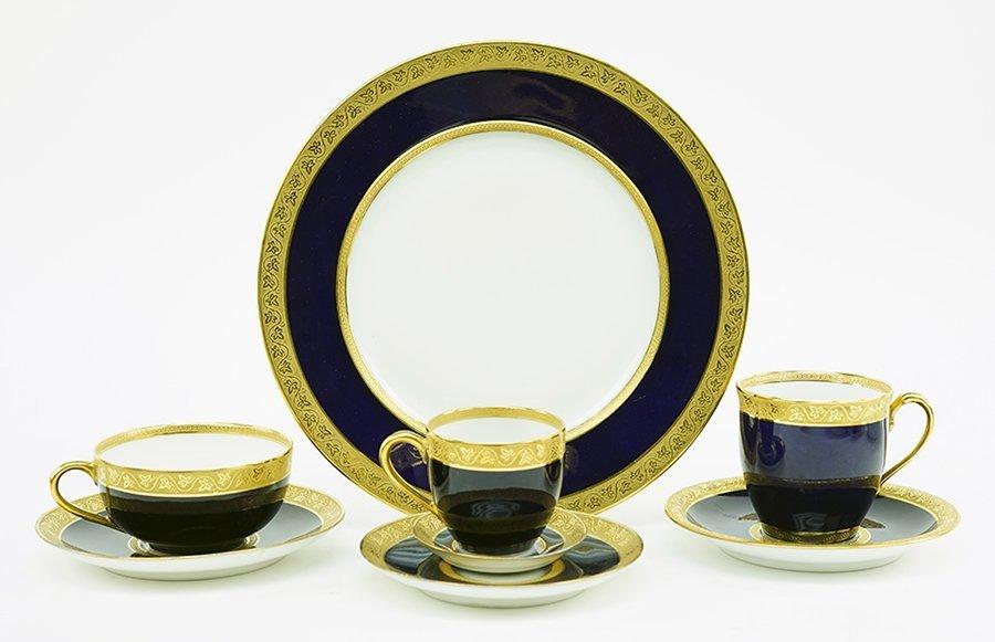 A Limoges Gilt Cobalt Porcelain Dinner Service. - 2