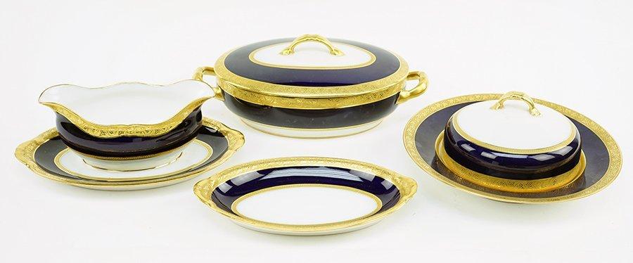 A Limoges Gilt Cobalt Porcelain Dinner Service. - 3