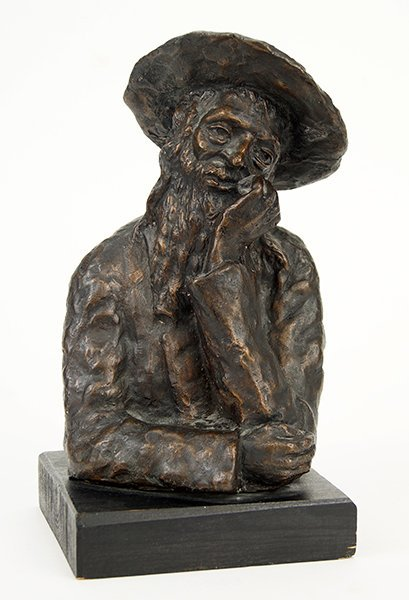 A Patinated Bronze Sculpture of a Rabbi.