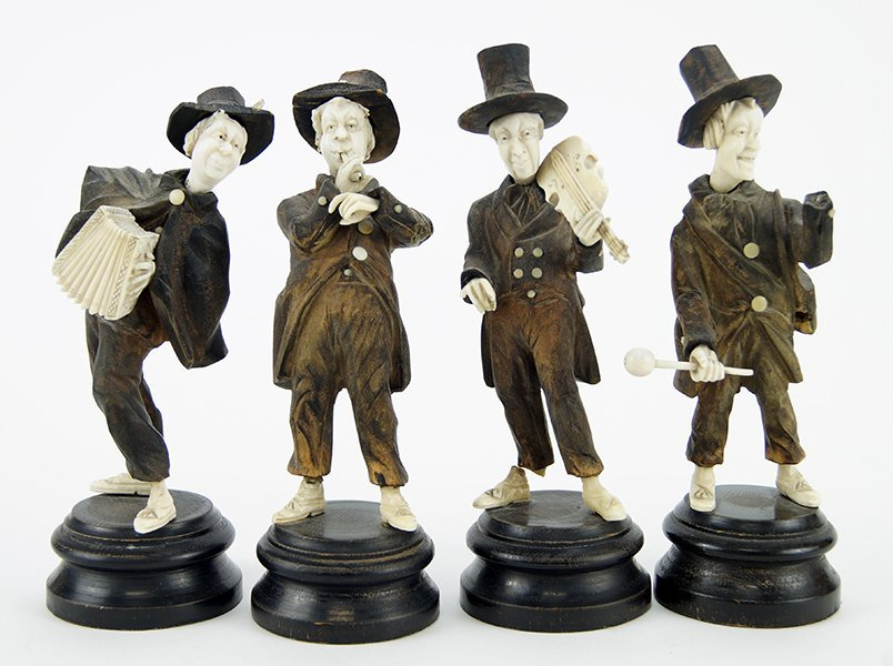 Four German Black Forest Carved Wood and Ivory Figures.