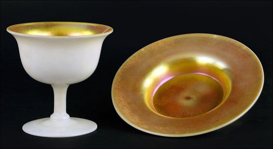 Three Steuben Aurene and Calcite Glass Sherbets.