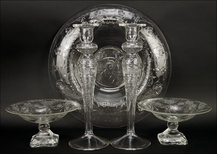 A Collection of Etched Glass Table Articles.