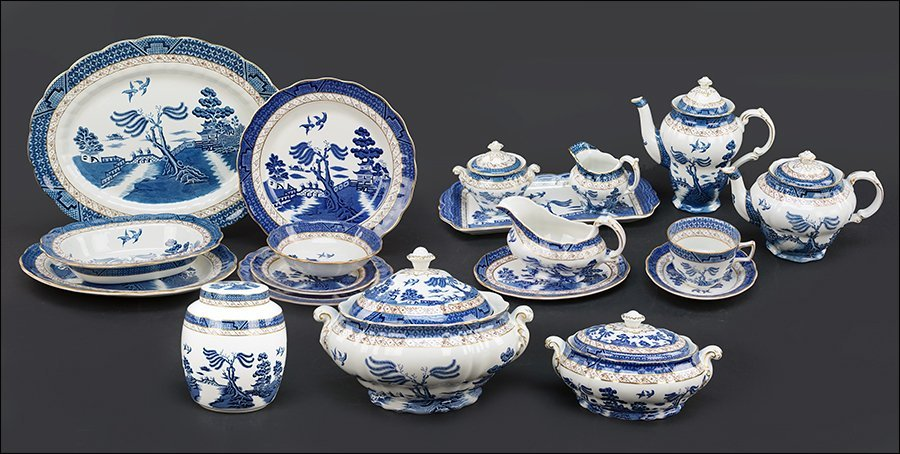 An Assembled Blue Willow Porcelain Table Service.