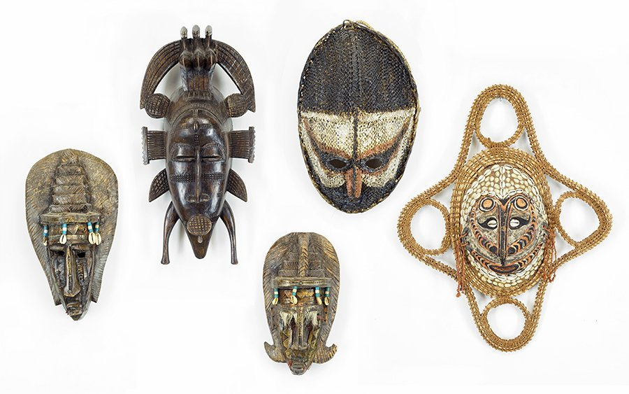 A Collection of Five African Masks.