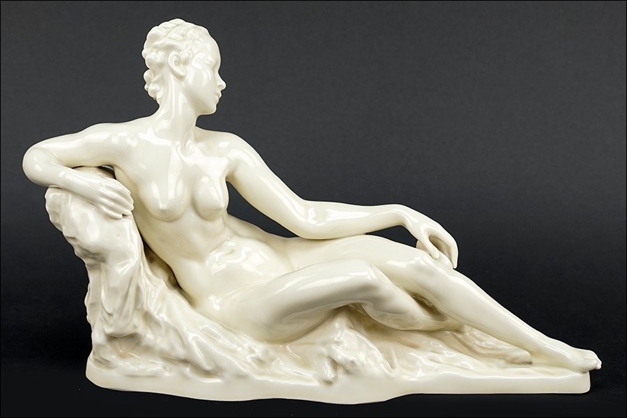 A Rosenthal Porcelain Figure of a Nude Reclining