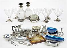 A Collection of Swedish Hovmantorp Olive Green Glass