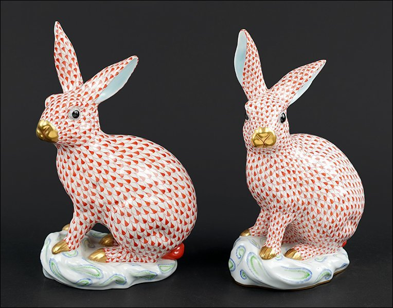 Two Herend Porcelain Rabbits.