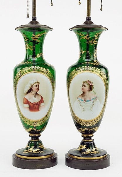 A Pair of Bohemian Gilt Glass Lamps.