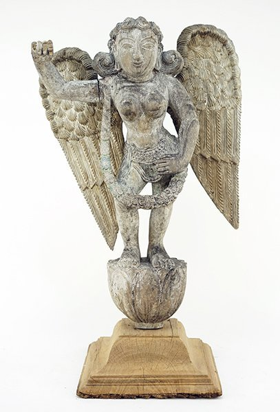 An Indian Carved Wood Goddess Figure.