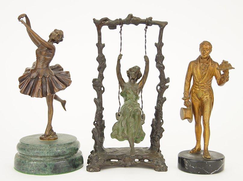 Three Patinated Metal Figures.