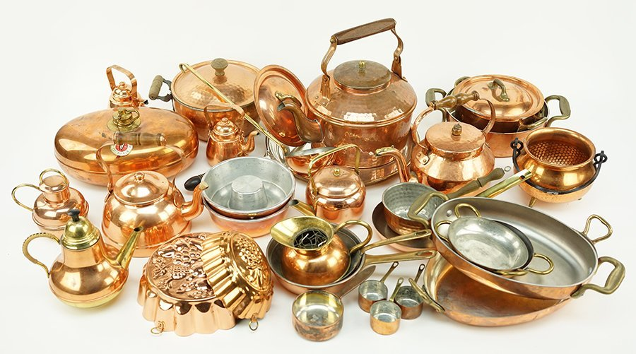 A Collection of Copper Cookware.