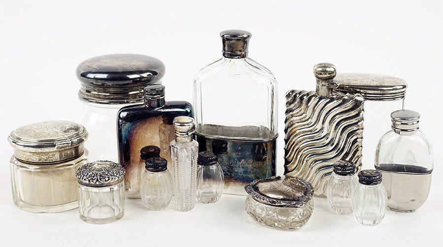 Five Sterling Silver and Crystal Vanity Jars.