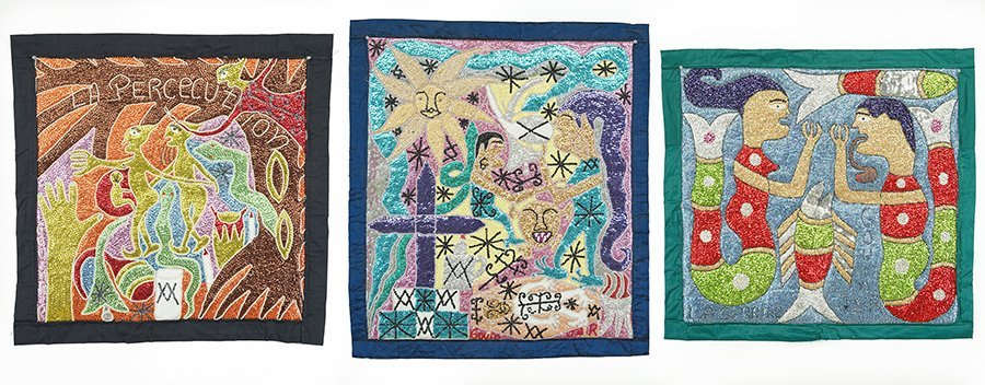 Three Haitian Vodou Flags by Ronald Gouin.