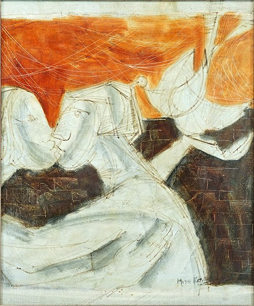 Moshe Katz (20th Century) Lovers with Dove.