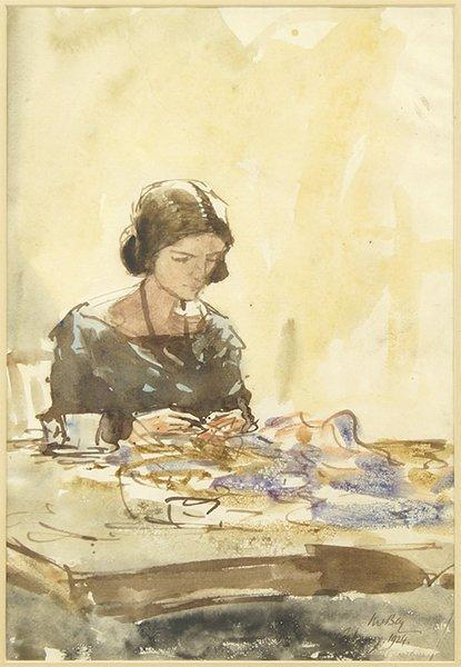 James McBey (Scottish, 1883-1959) Lady Sewing.
