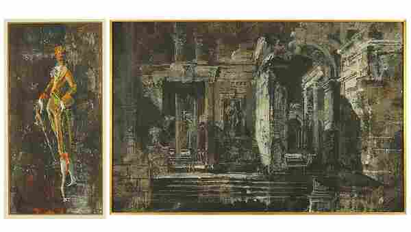 John Henry (American, 20th Century) Ruins at Night.