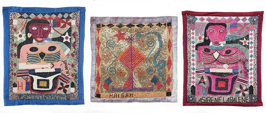 Two Haitian Vodou Flags by Eviland Lalanne.