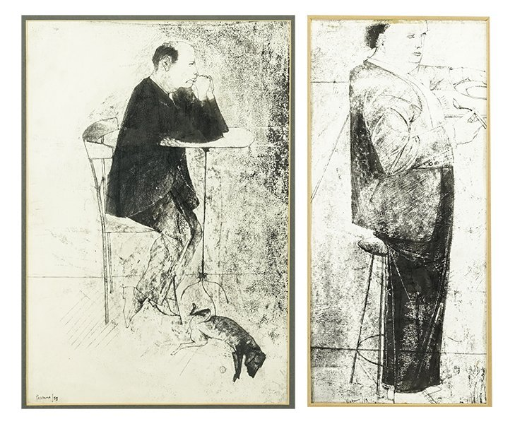 Giacomo Porzano (Italian, 1925-2006) Two Ink Drawings.
