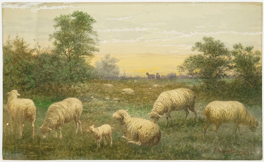 Artist Unknown (19th Century) Grazing Sheep.
