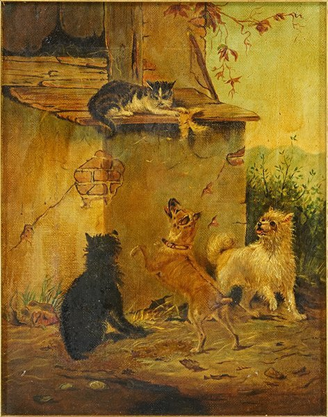 Artist Unknown (American, 20th Century) Dogs and Cats.