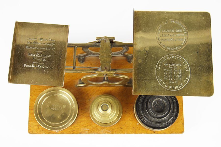 A 19th Century English Brass and Wood Postal Scale. - 2
