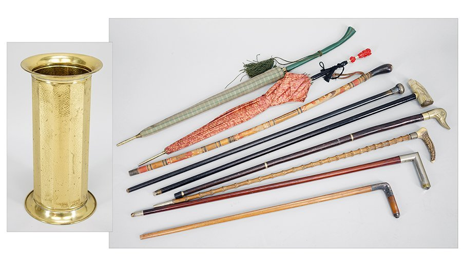 A Collection of Walking Sticks and Parasols.