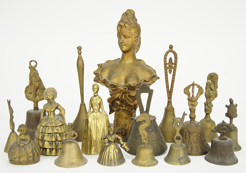 A Collection of Sixteen Brass and Metal Bells.