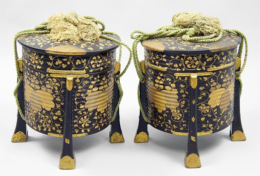 A Pair of 18th Century Japanese Jubako / Helmet Cases.