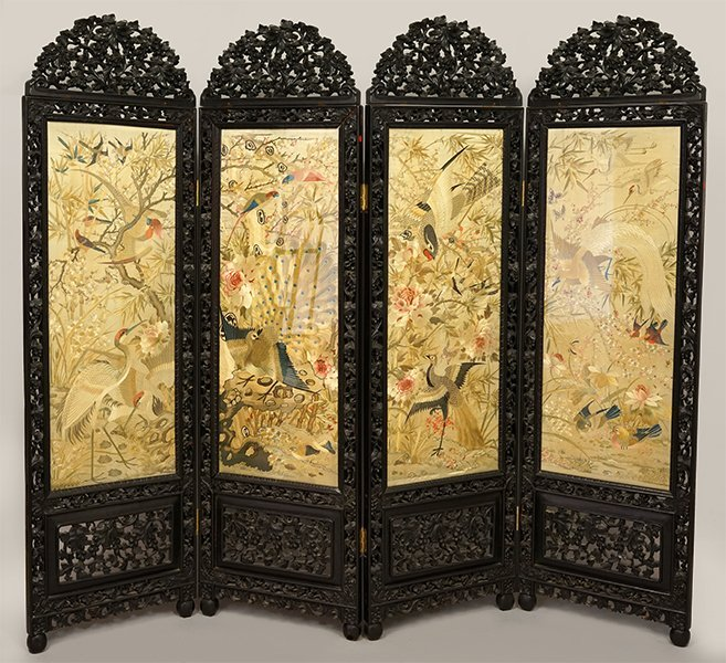 A Chinese Carved Rosewood Four-Panel Screen.
