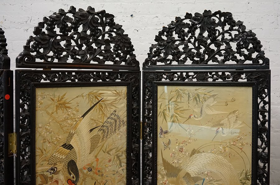 A Chinese Carved Rosewood Four-Panel Screen. - 3