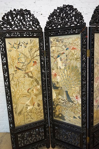 A Chinese Carved Rosewood Four-Panel Screen. - 4