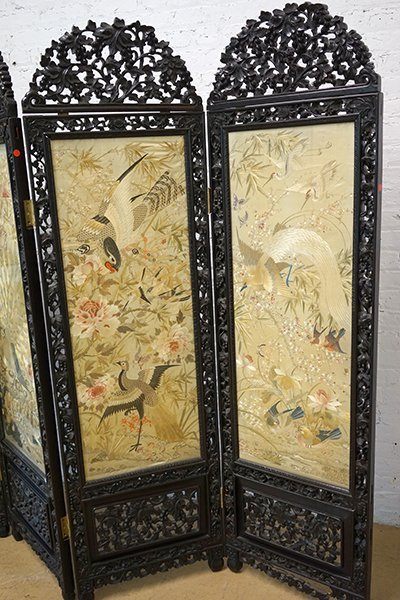 A Chinese Carved Rosewood Four-Panel Screen. - 5