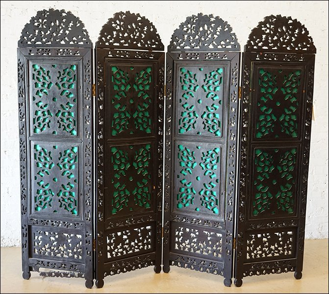 A Chinese Carved Rosewood Four-Panel Screen. - 6
