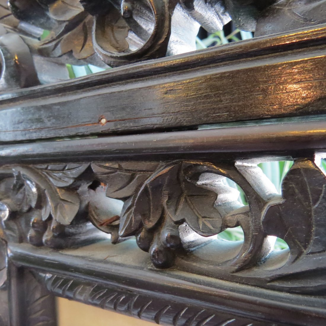 A Chinese Carved Rosewood Four-Panel Screen. - 7