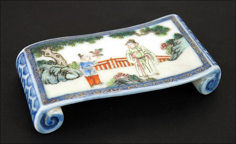 A 19th Century Chinese Porcelain Brush rest.