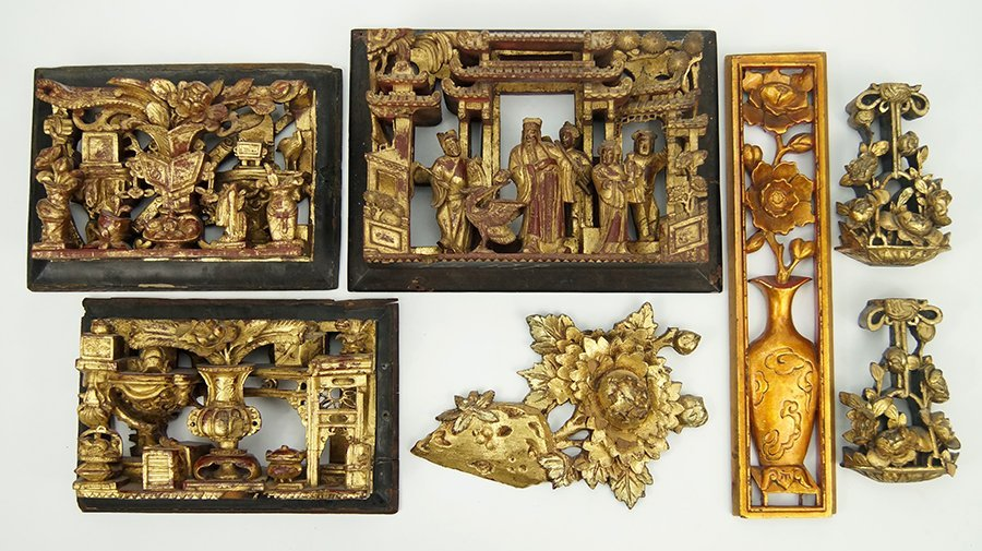 A Collection of Chinese Giltwood Panels.