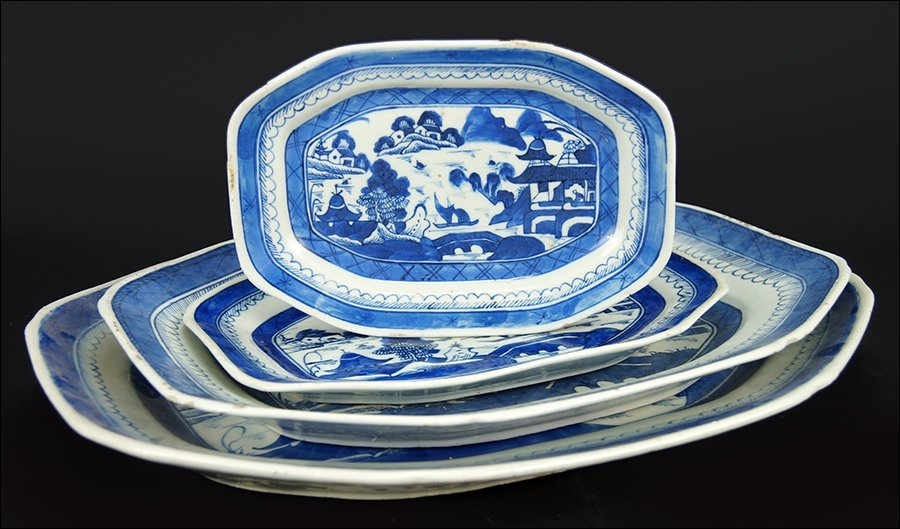 A Group of Four Chinese Canton Serving Platters.