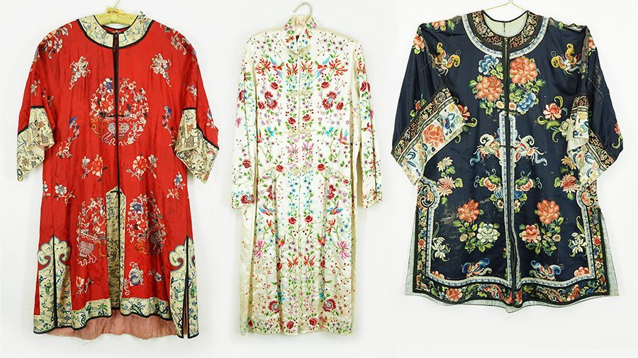 Three Chinese Embroidered Silk Robes.