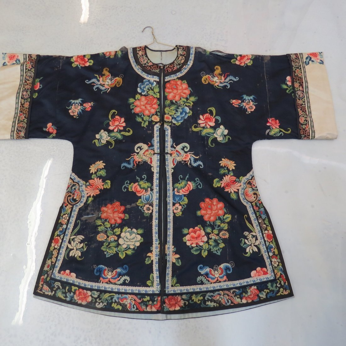 Three Chinese Embroidered Silk Robes. - 4