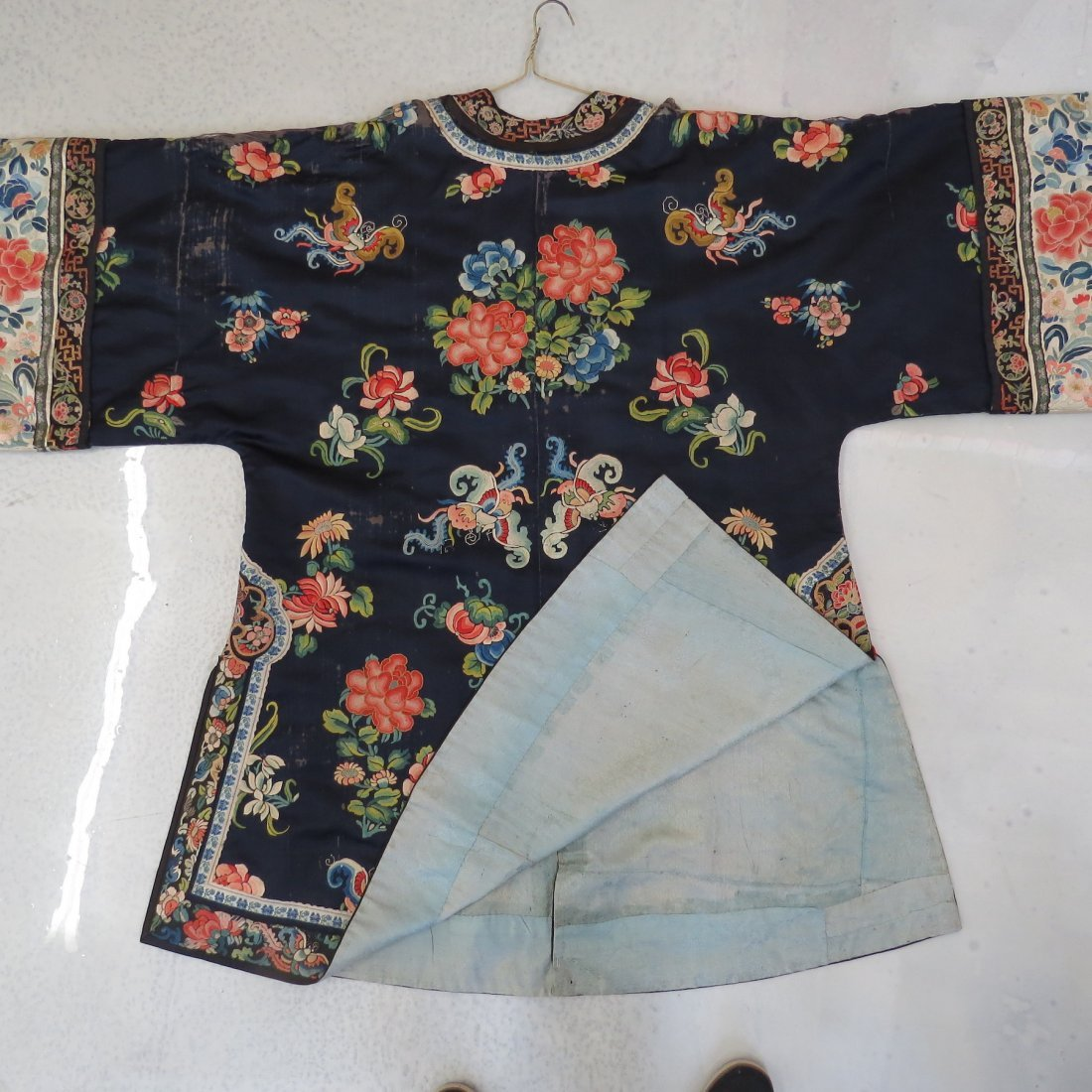 Three Chinese Embroidered Silk Robes. - 9