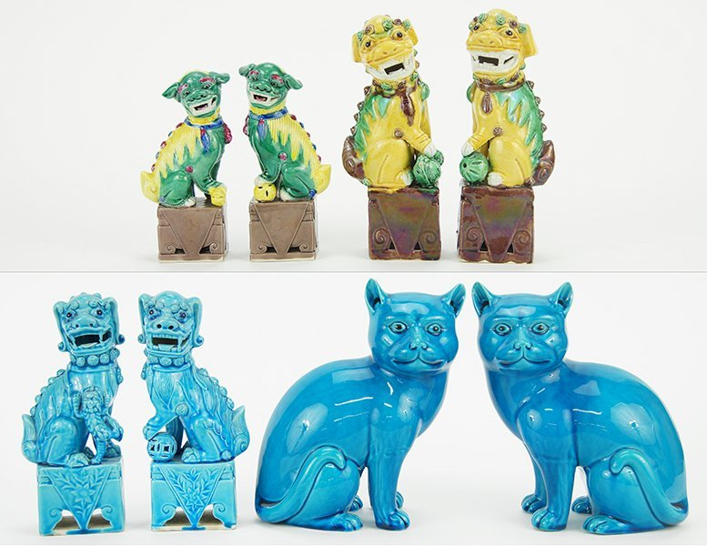 Three Pairs of Chinese Glazd Ceramic Foo Lions.