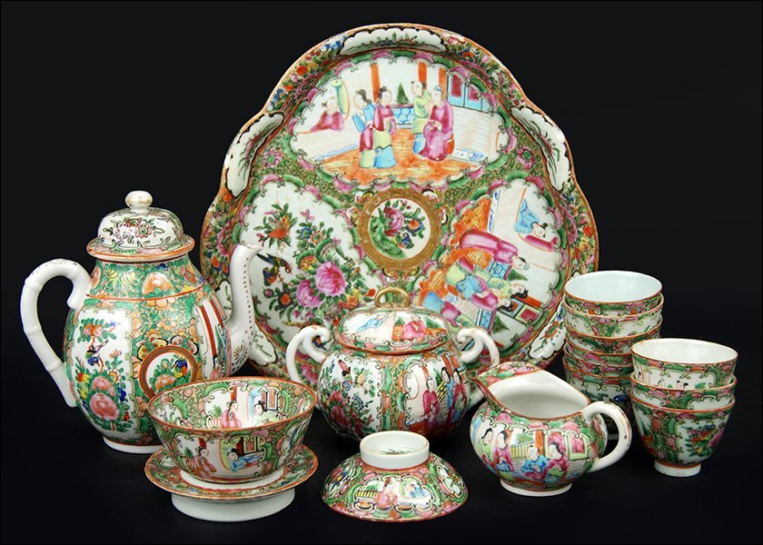 A Collection of Chinese Rose Medallion Tea Service.
