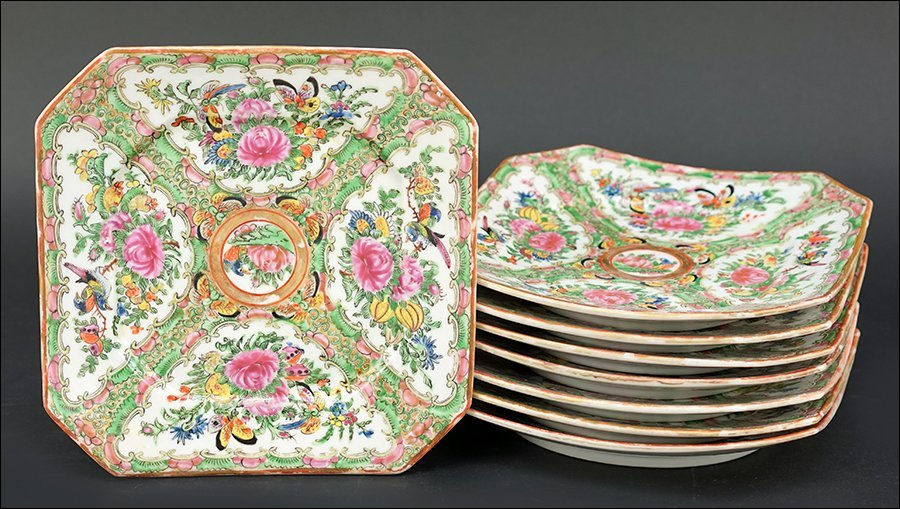 A Set of Fourteen Chinese Rose Medallion Plates.