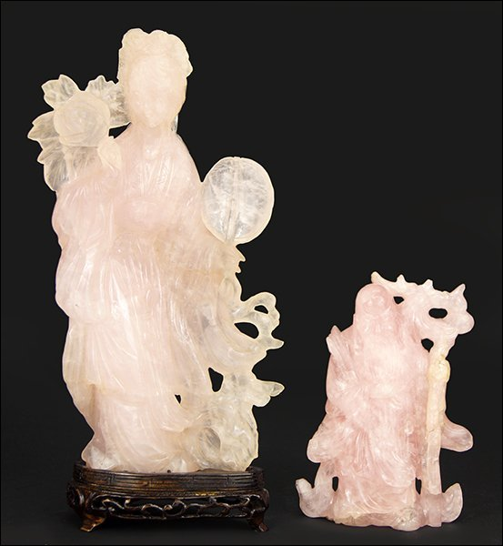 Two Chinese Carved Rose Quartz Figures.